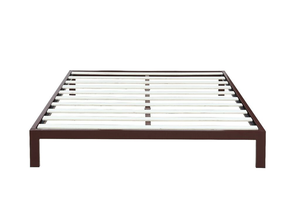 "Modern 8"" Low Brown Metal Platform Bed Frame / Mattress"