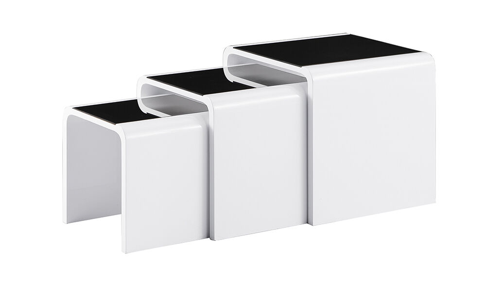 HIGH GLOSS NEST OF 3 COFFEE TABLE SIDE TABLE WHITE COLOUR