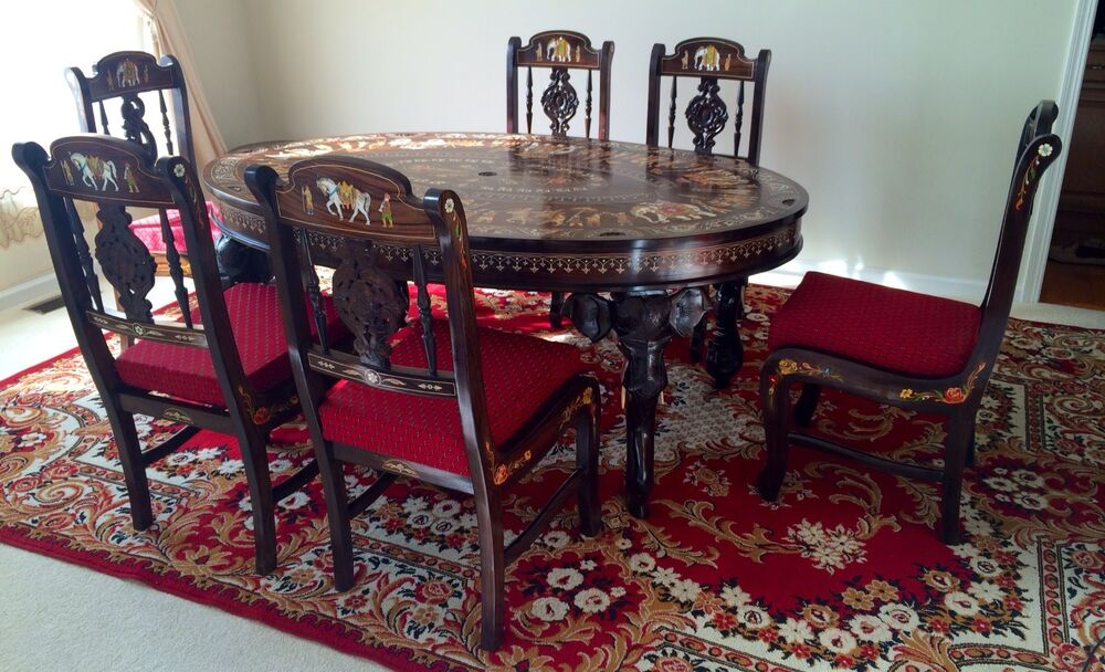 Rosewood Handmade Table Set W 6 Chairs Rosewood Unique