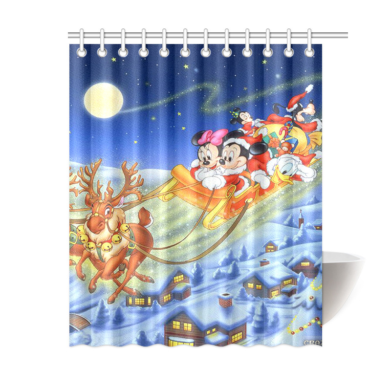 Minnie Mouse Mickey Mouse Merry Christmas Waterproof Bath Shower Curtain 60 X 72 EBay