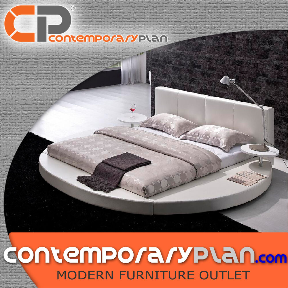 Contemporary White Leather Headboard Round Bed King Size Modern Circle Design EBay