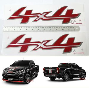 4x4 SILVER RED GREY STICKER DECAL FOR ISUZU DMAX DMAX