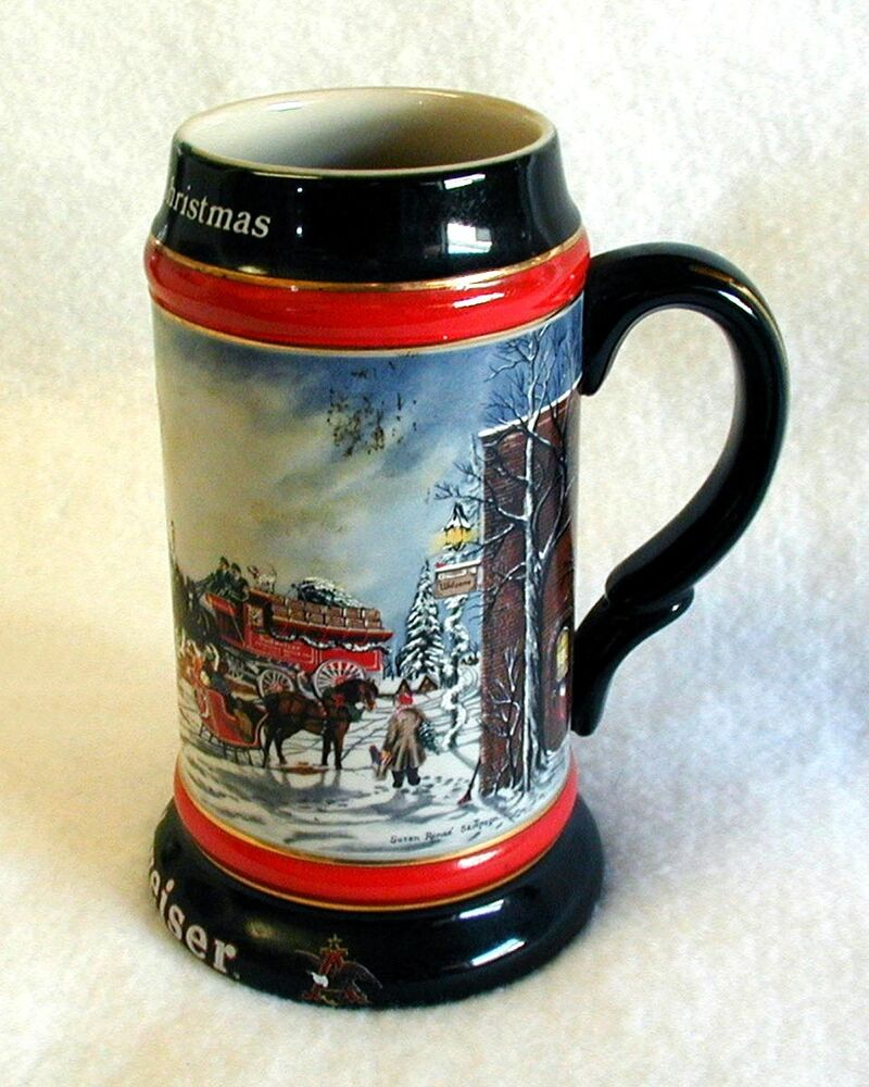 Budweiser Stein A Perfect Christmas 1992 Ceramarte For