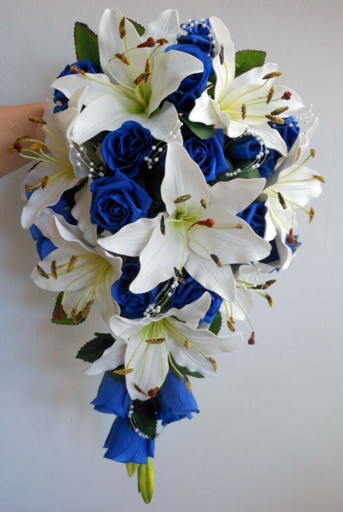 Teardrop Wedding Bouquet Ivory Lillies Royal Blue Roses
