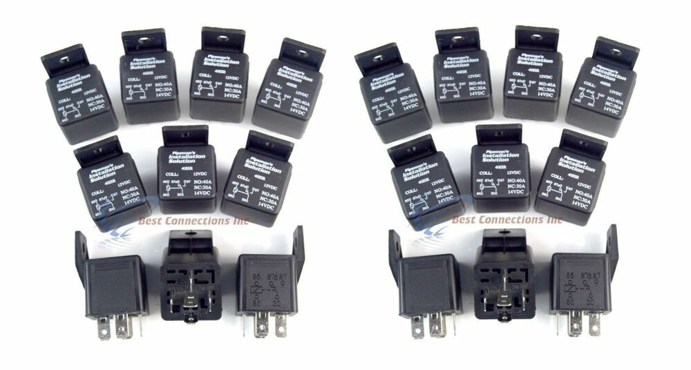 20 Pcs 12 Volt 5 Pin SPDT 30 40 Amp Relay Socket Auto Car