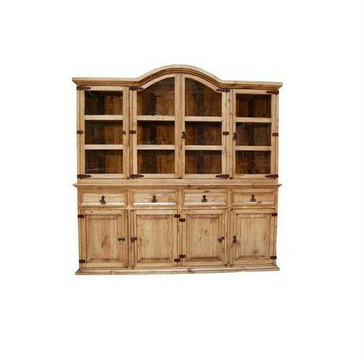 Rustic Large 2 PC China Cabinet Western Solid Wood Buffet