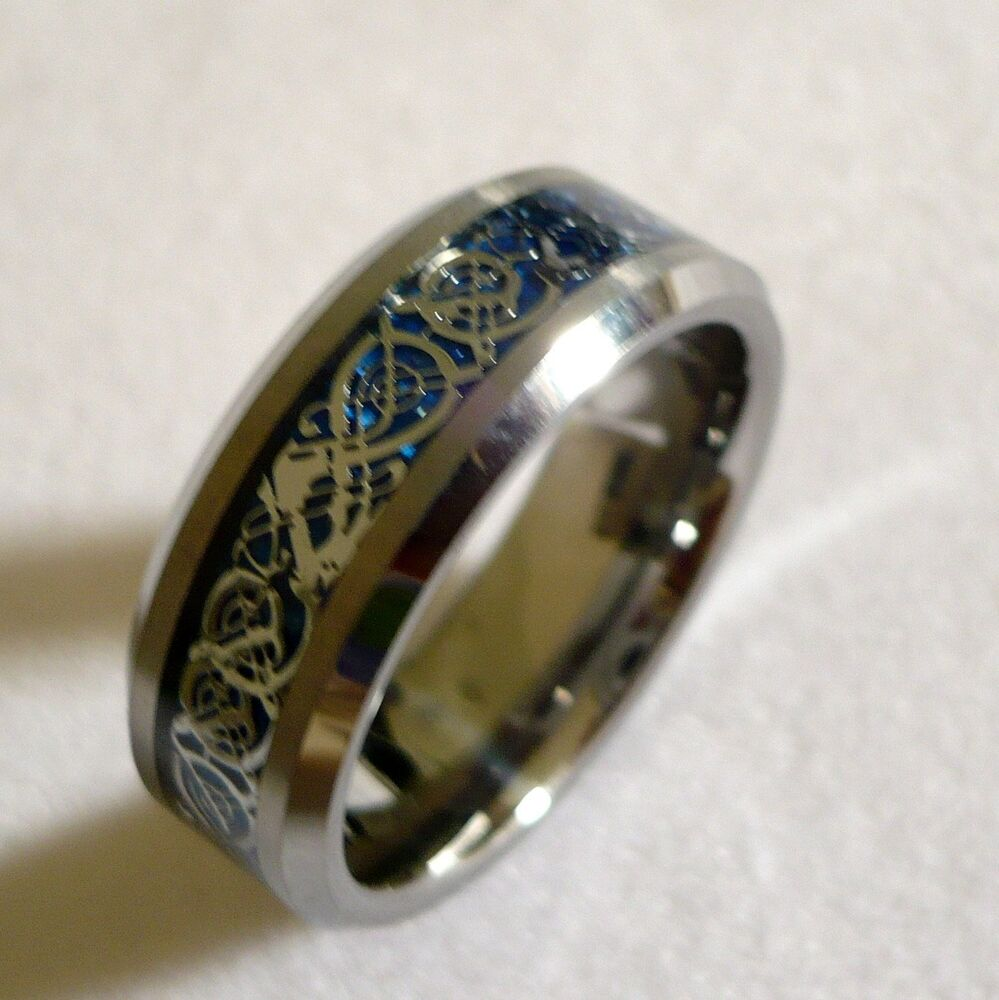 Tungsten Carbide Ring Blue Inlay