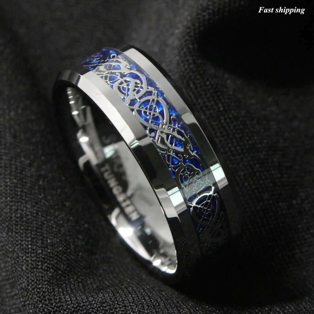 86Mm Silvering Celtic Dragon Tungsten Carbide Ring