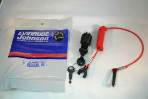 New OEM Johnson Evinrude Key Switch w Lanyard 5005801