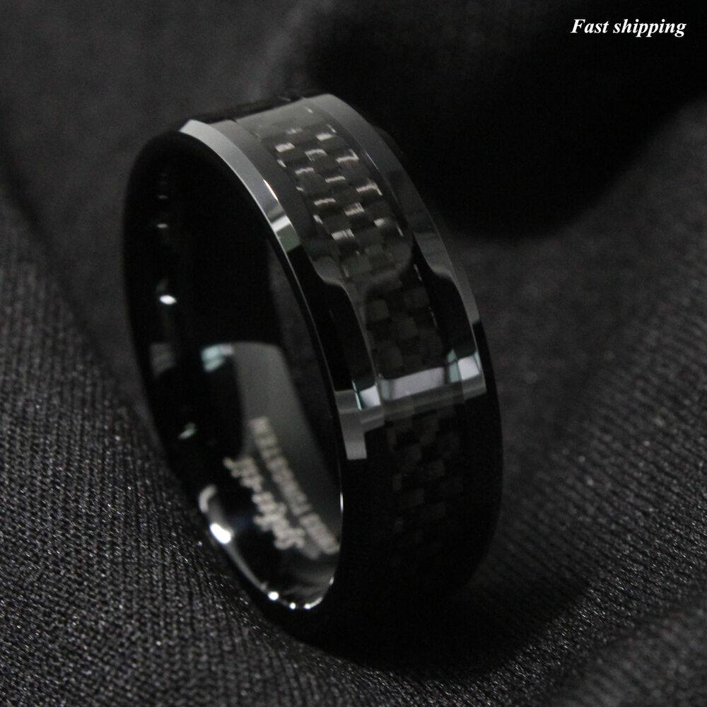 8mm Tungsten Carbide Ring Black Carbon Fiber Inlay Wedding
