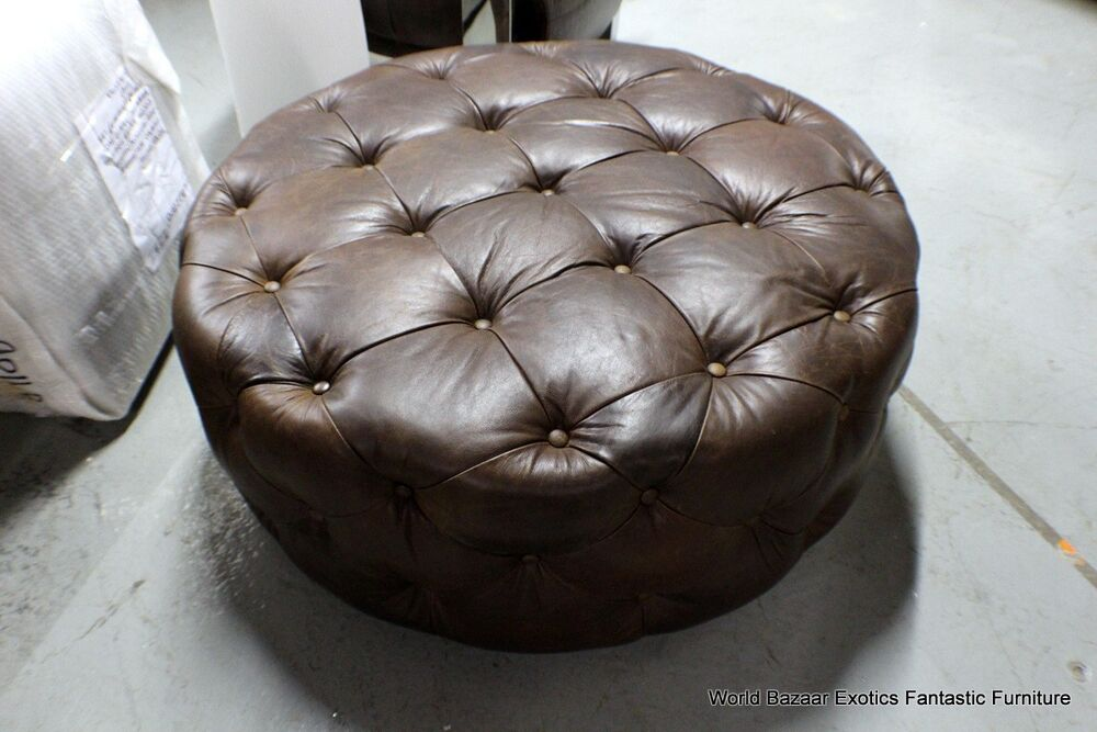 Small Brown Leather Ottoman