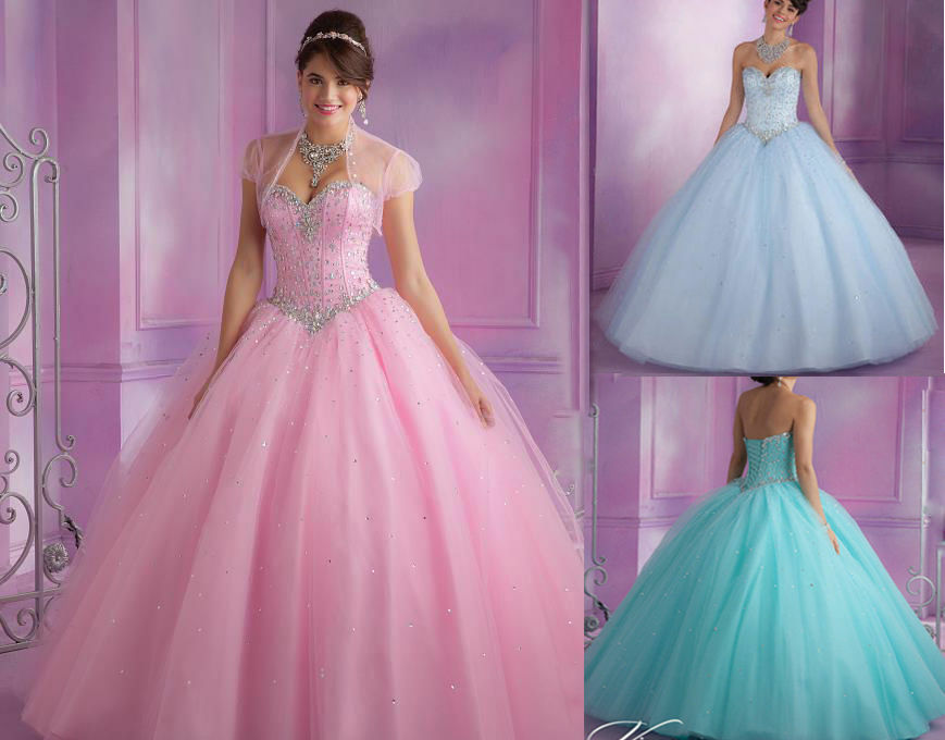 2015 Beaded Quinceanera Dress Formal Prom Party Ball Gown
