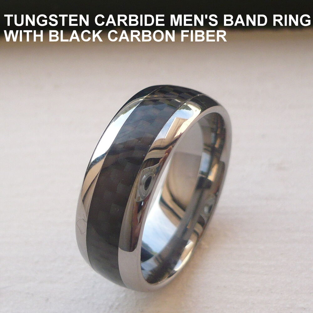 MENS TUNGSTEN CARBIDE WEDDING BAND RING WITH BLACK CARBON