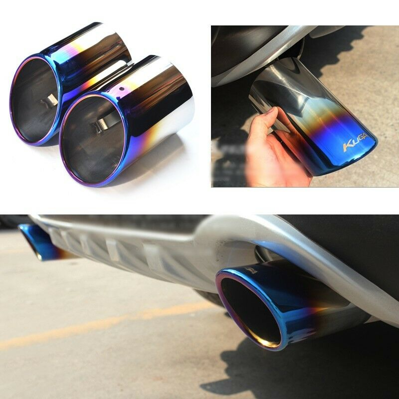 2 Titanium Blue Exhaust Muffler Tail Pipe Tip Tailpipe For