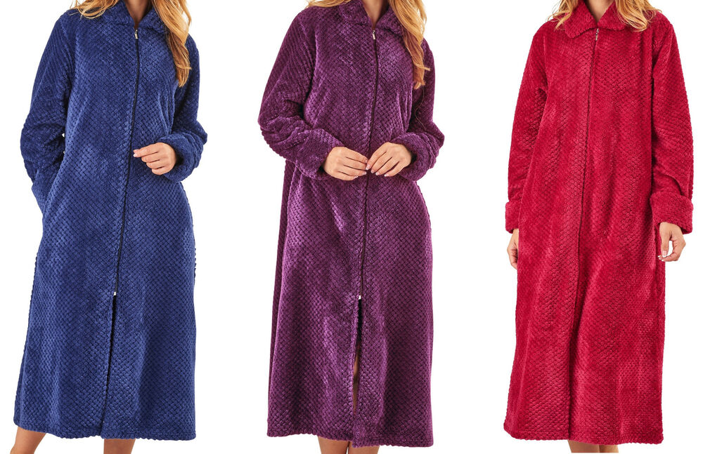 Dressing Gown Ladies Zip Up Soft Waffle Fleece Slenderella