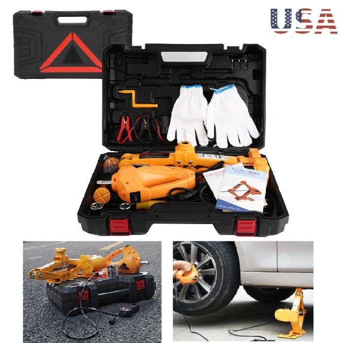 3 ton automotive electric scissor car jack lift 12v dc wrench with 1