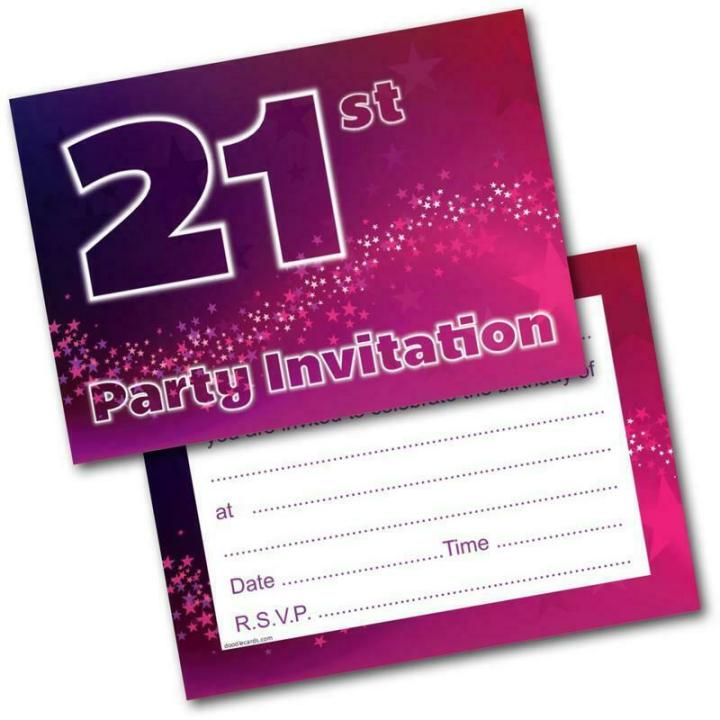 21st Birthday Party Invitations Age 21 Female Womens Pack Of 20 Invites Envs 5060370633609
