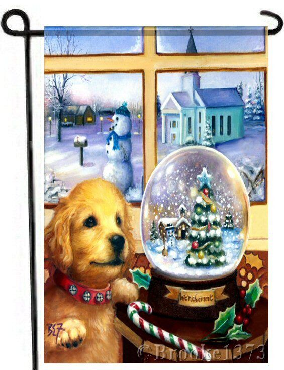 Golden Retriever Labrador Painting Christmas GARDEN