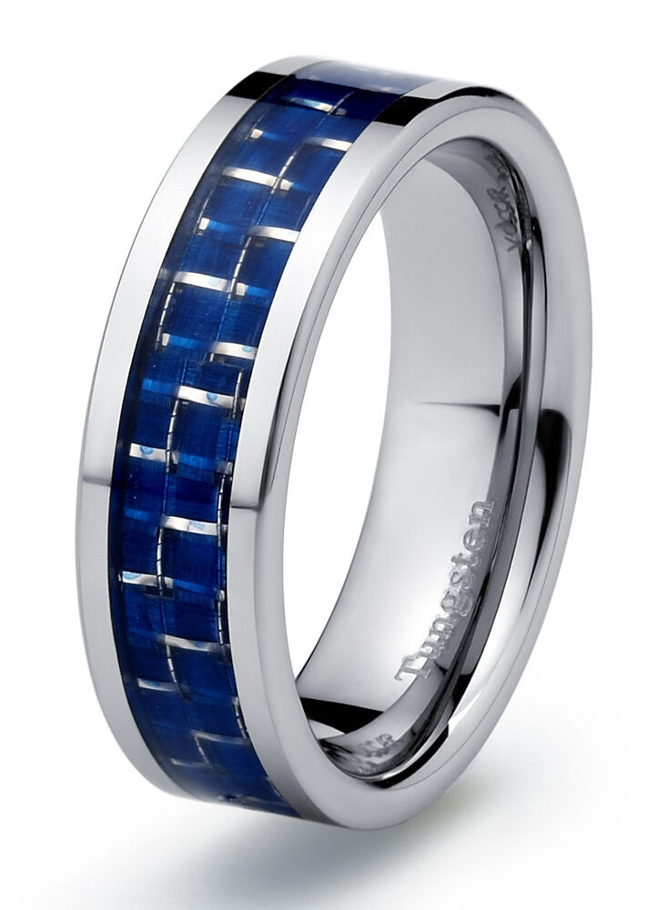 Tungsten Carbide Mens Wedding Band Ring 7mm Modern With