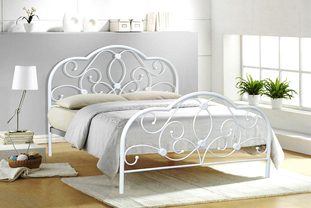 Alexis Small Double 4ft&Double 4ft6 White Metal Bed Frame
