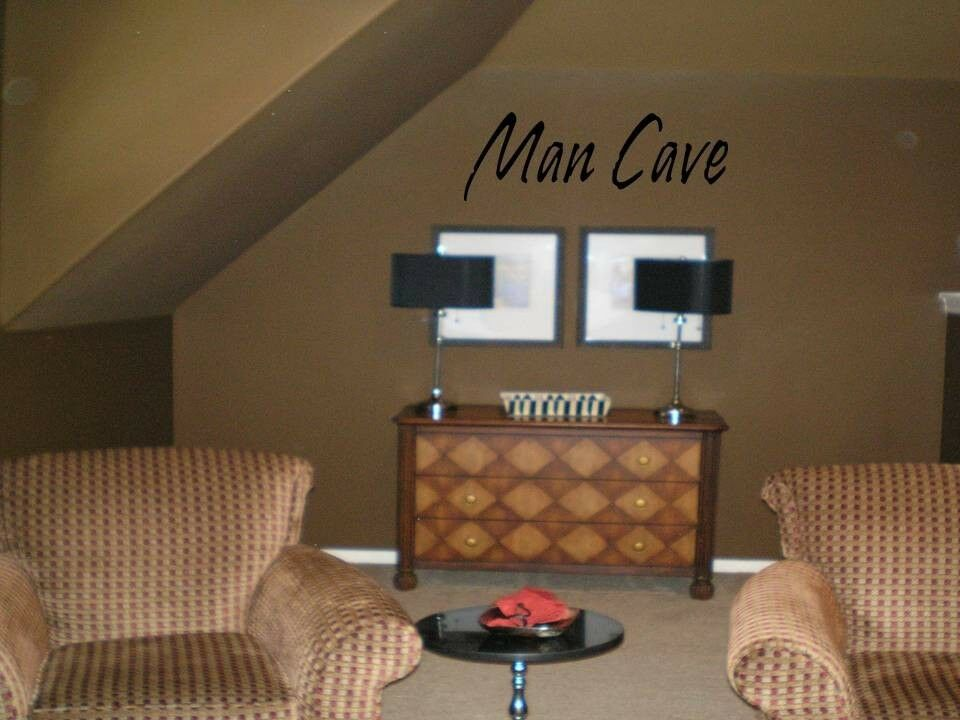 MAN CAVE Quote Decal Wall Words Lettering Wall Art Garage Loft Sticker EBay