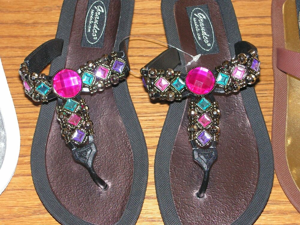 Grandco Fancy Dressy Thong Sandals Black White Brown
