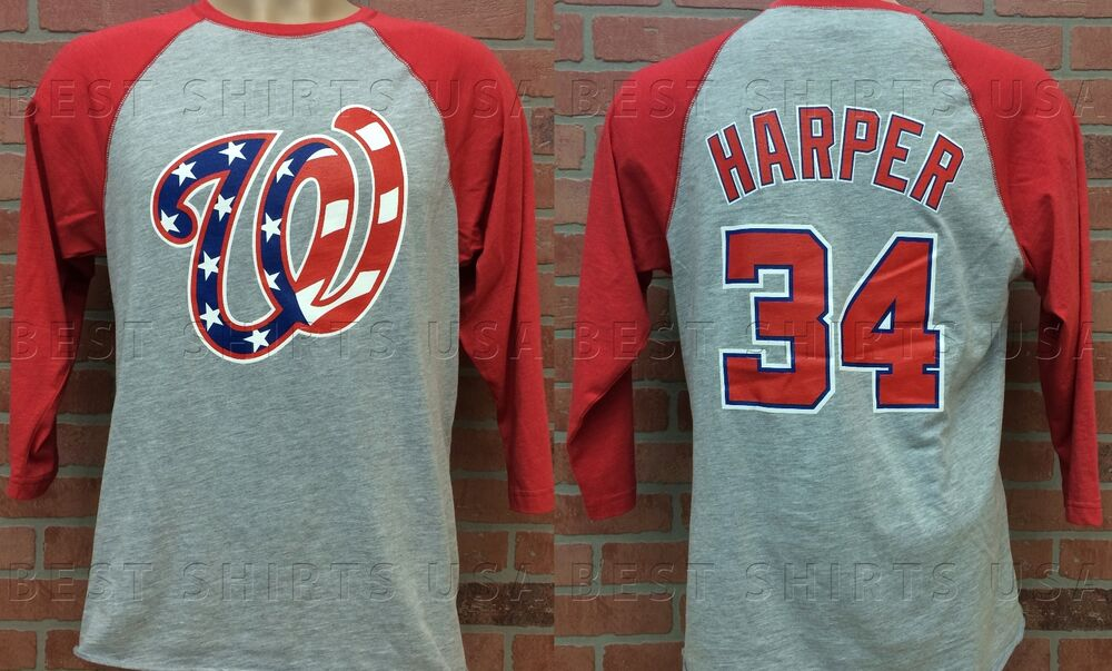 WASHINGTON NATIONALS AMERICAN FLAG BRYCE HARPER 3/4 SLEEVE