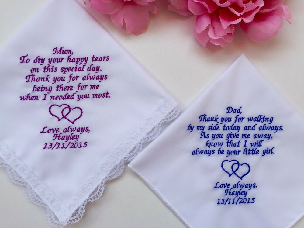 Wedding Gift Handkerchiefs For Mother Of The Bride And