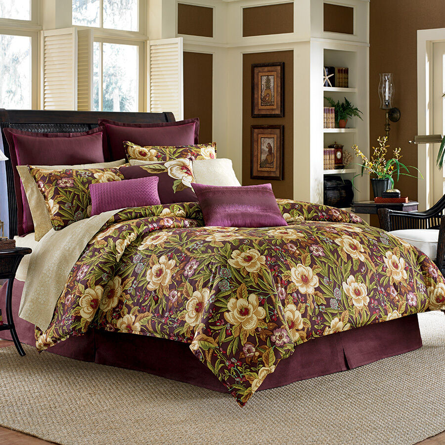 3 Pc Tommy Bahama Havana Garden Queen Duvet Set Hawaiian