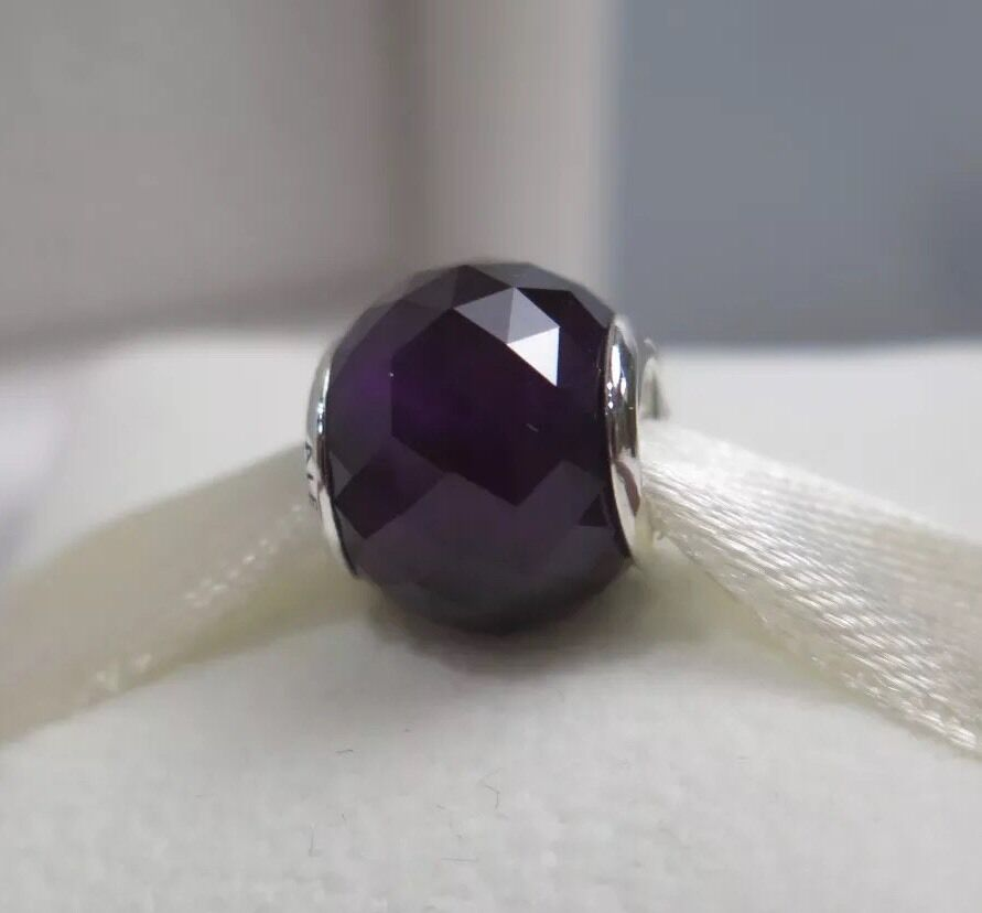 New WBox Pandora Royal Purple Geometric Facets Murano Glass Charm 791722NRP EBay