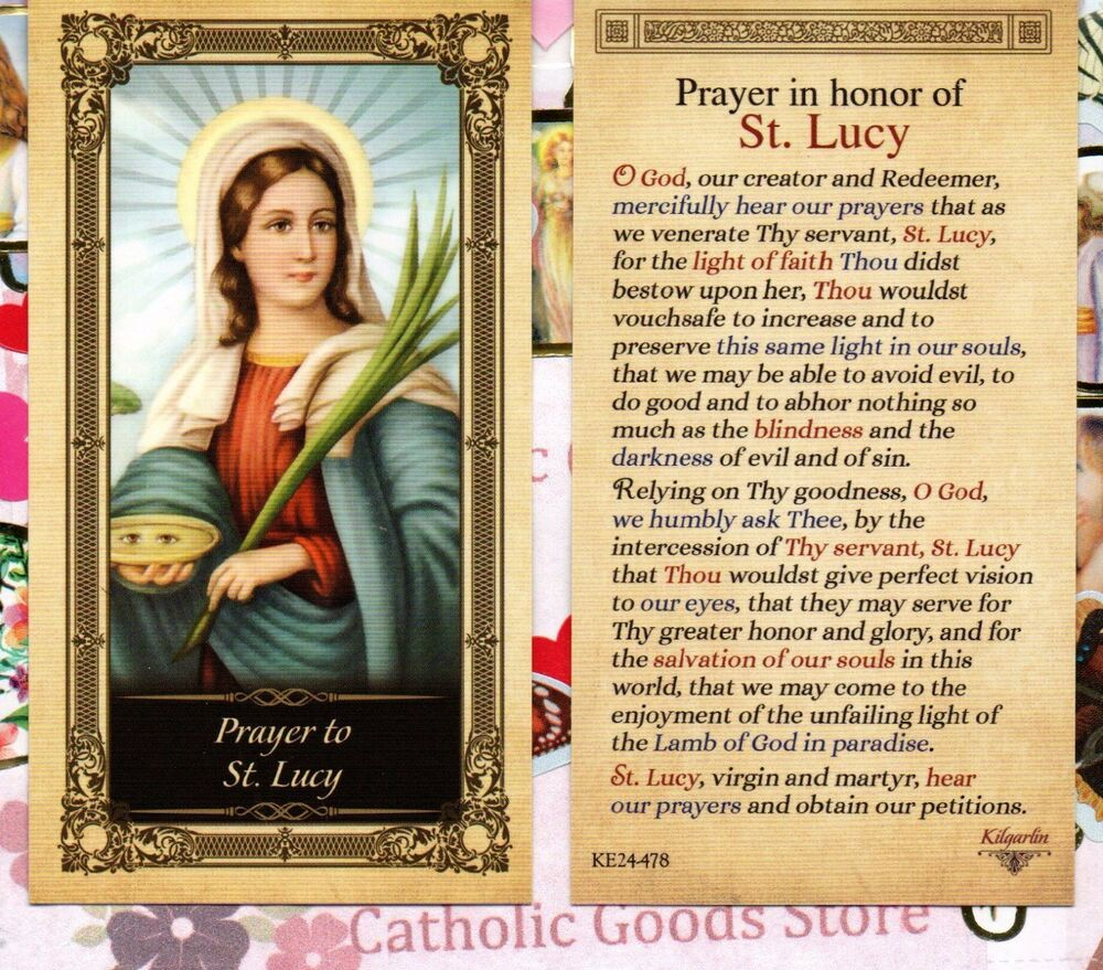 St Lucy With Prayer In Honor Of Saint Lucy Glossy Paperstock Holy Card EBay