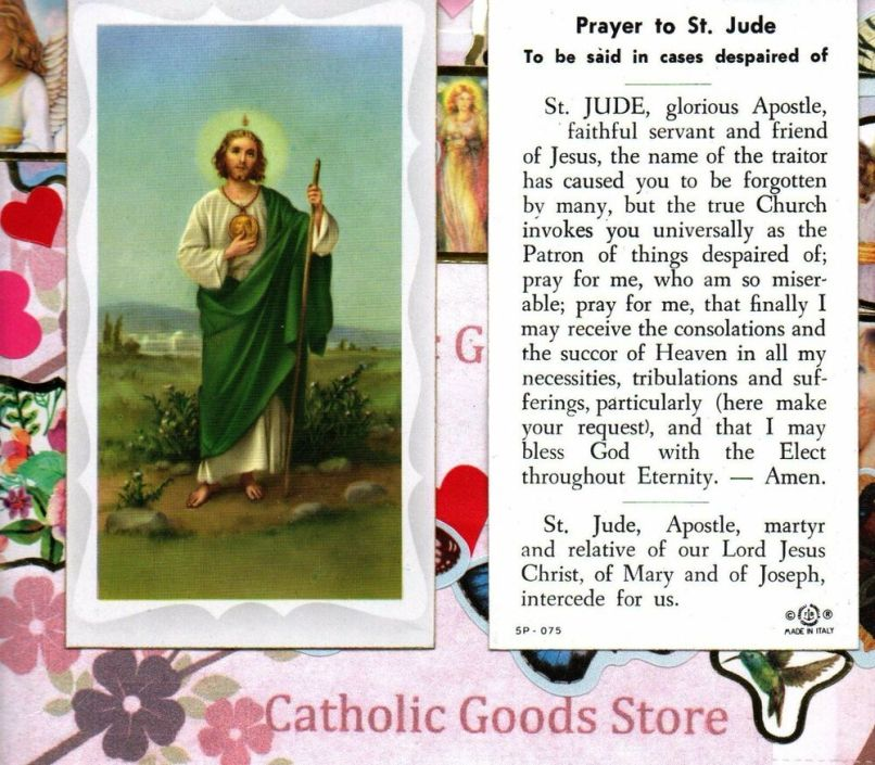271e1bc6afa Prayer To St Saint Jude In Despaired Cases Paperstock Holy Card