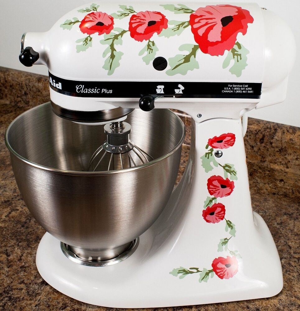 Red Poppy Flowers Watercolor Kitchenaid Mixer Mixing