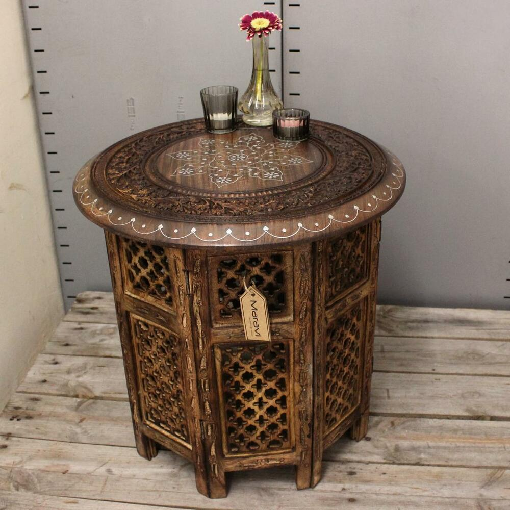 Hand Carved Wooden End Tables