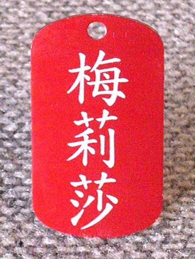 ID Tag Dog Tags With Your Name In Chinese Characters Anodized Aluminum EBay
