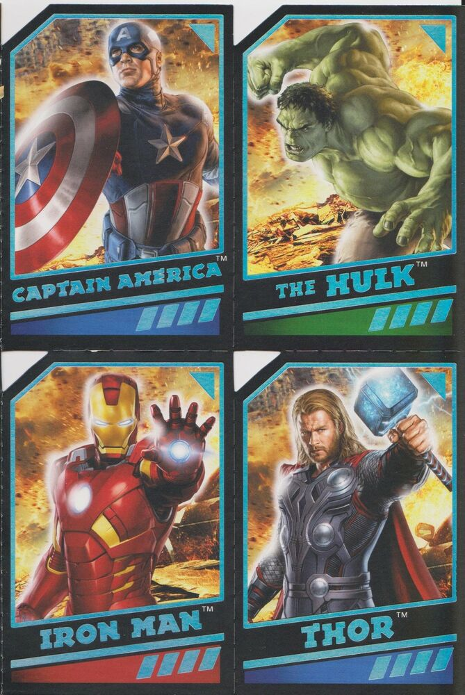 2012 THE AVENGERS BIRTHDAY CARD 4 PERFERATED TRADING CARDS ATTACHED EBay