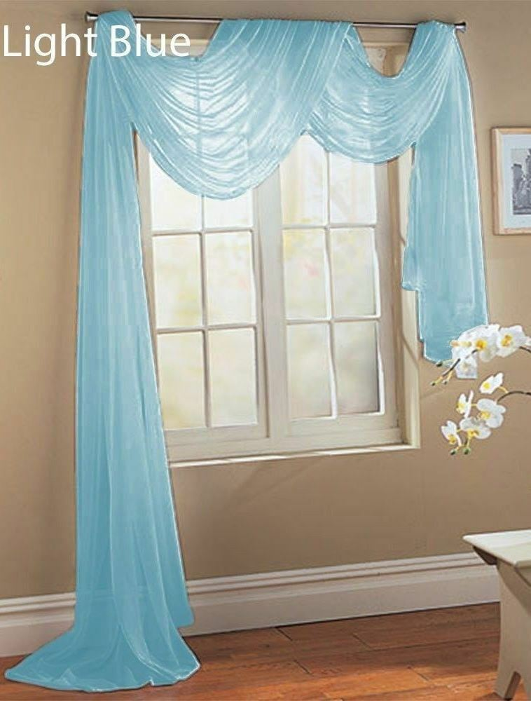 1 Pcs LIGTH BLUE Scarf Voile Window Panel Solid Sheer Valance Curtains EBay