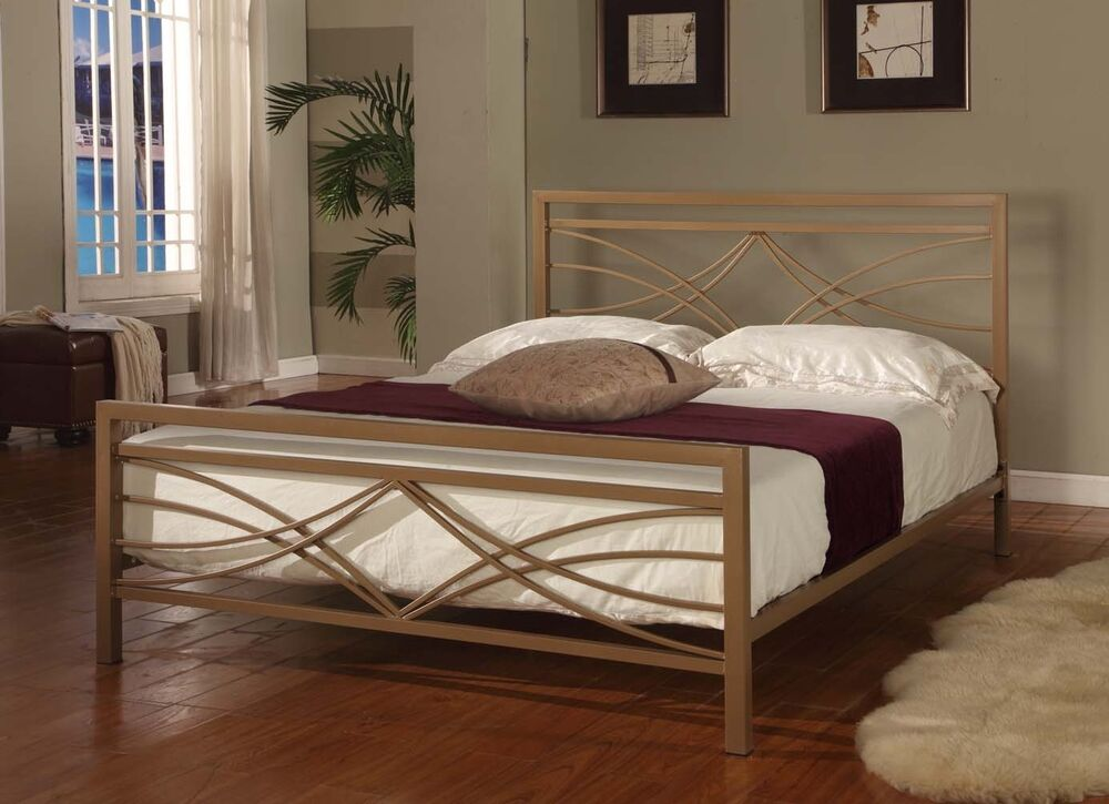 Golden Finish Full Size Bed Headboard Footboard Rails