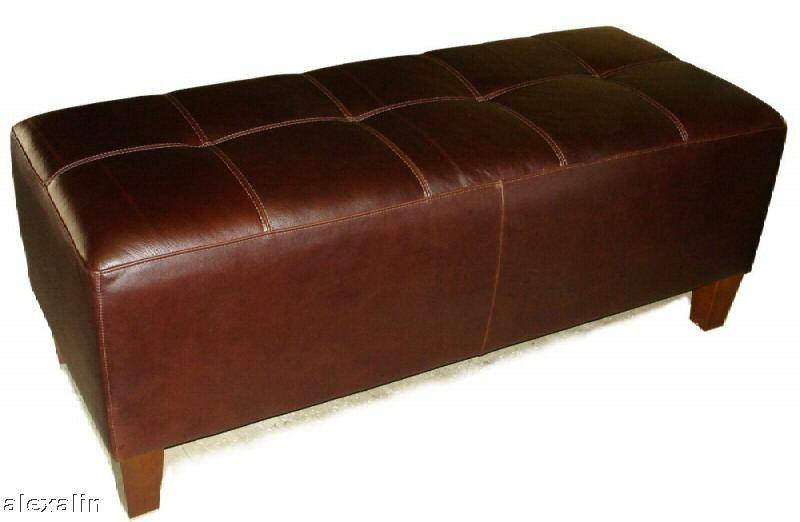 Espresso Genuine Leather Bench Ottoman Coffee Cocktail