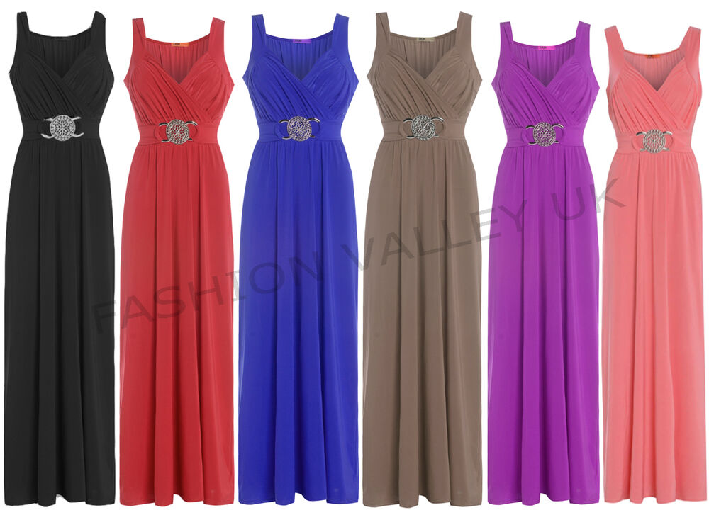 WOMENS BUCKLE LONG EVENING MAXI PARTY DRESS LADIES