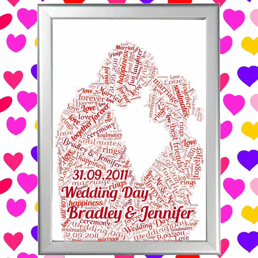COUPLE WORD ART PERSONALISED VALENTINES GIFT FOR HIM