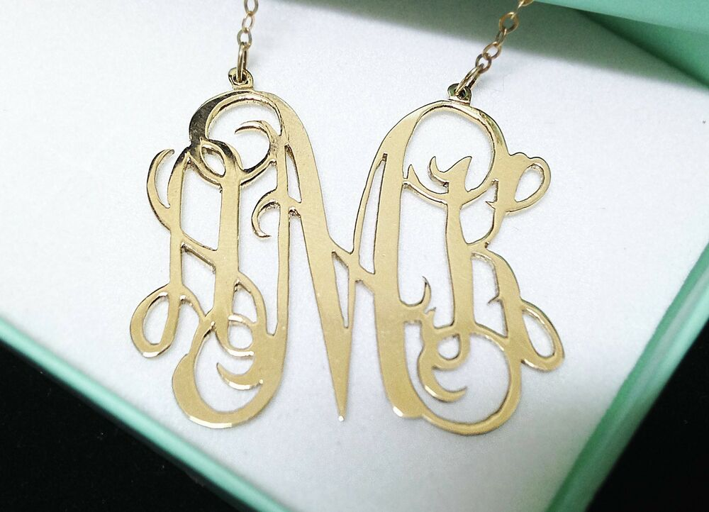 Monogram Sterling Silver Silver Personalized 925 Necklace Monogram 1