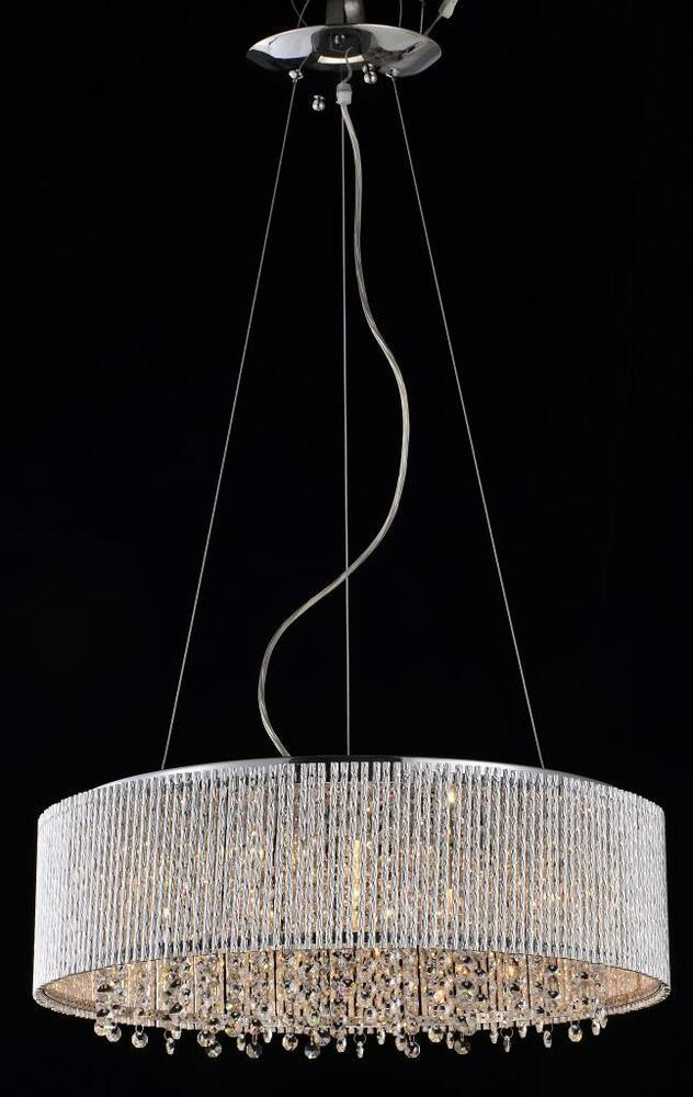 New 4 Light Drum Shade Spiral Crystal Chandelier Pendant
