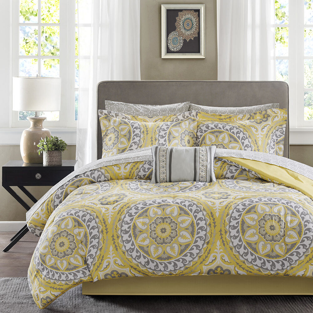 BEAUTIFUL MODERN TROPICAL EXOTIC BED IN A BAG YELLOW GREY
