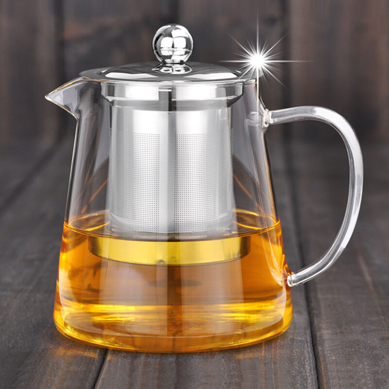 500ml Heat Resisted Clear Glass Teapot With Stainless