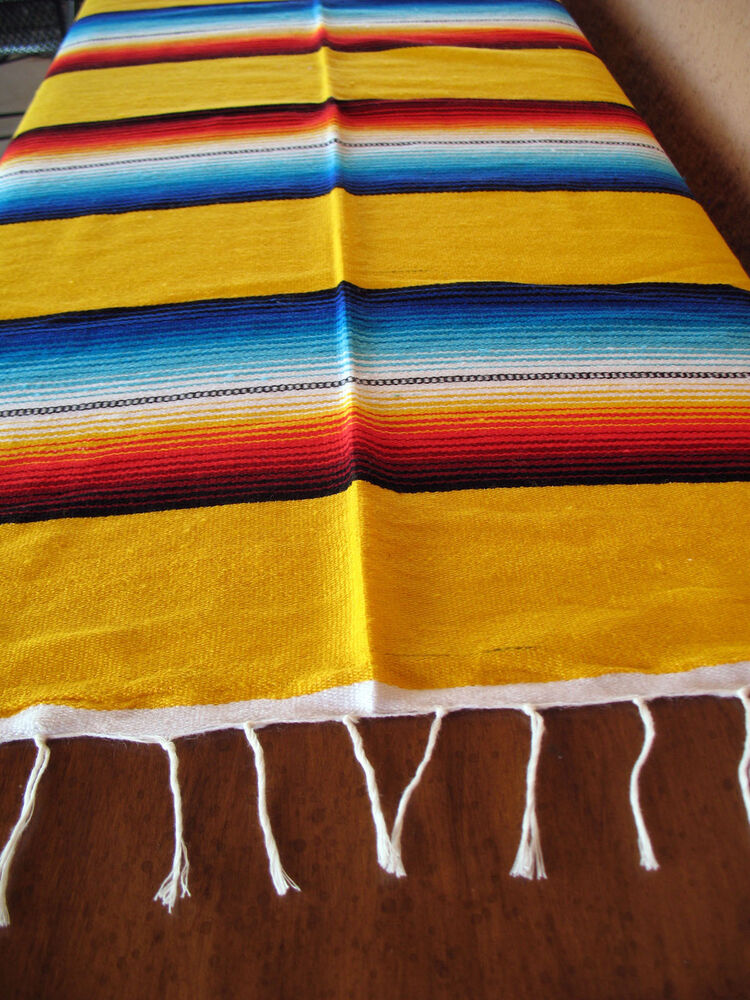 Serape Onws Yellow Blanket Table Cover Seat Cover Throw