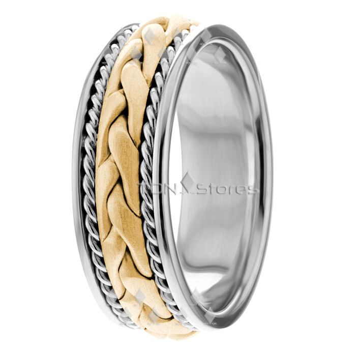 ROPE HAND BRAIDED RING MENS 14K GOLD BRAIDED WEDDING BANDS
