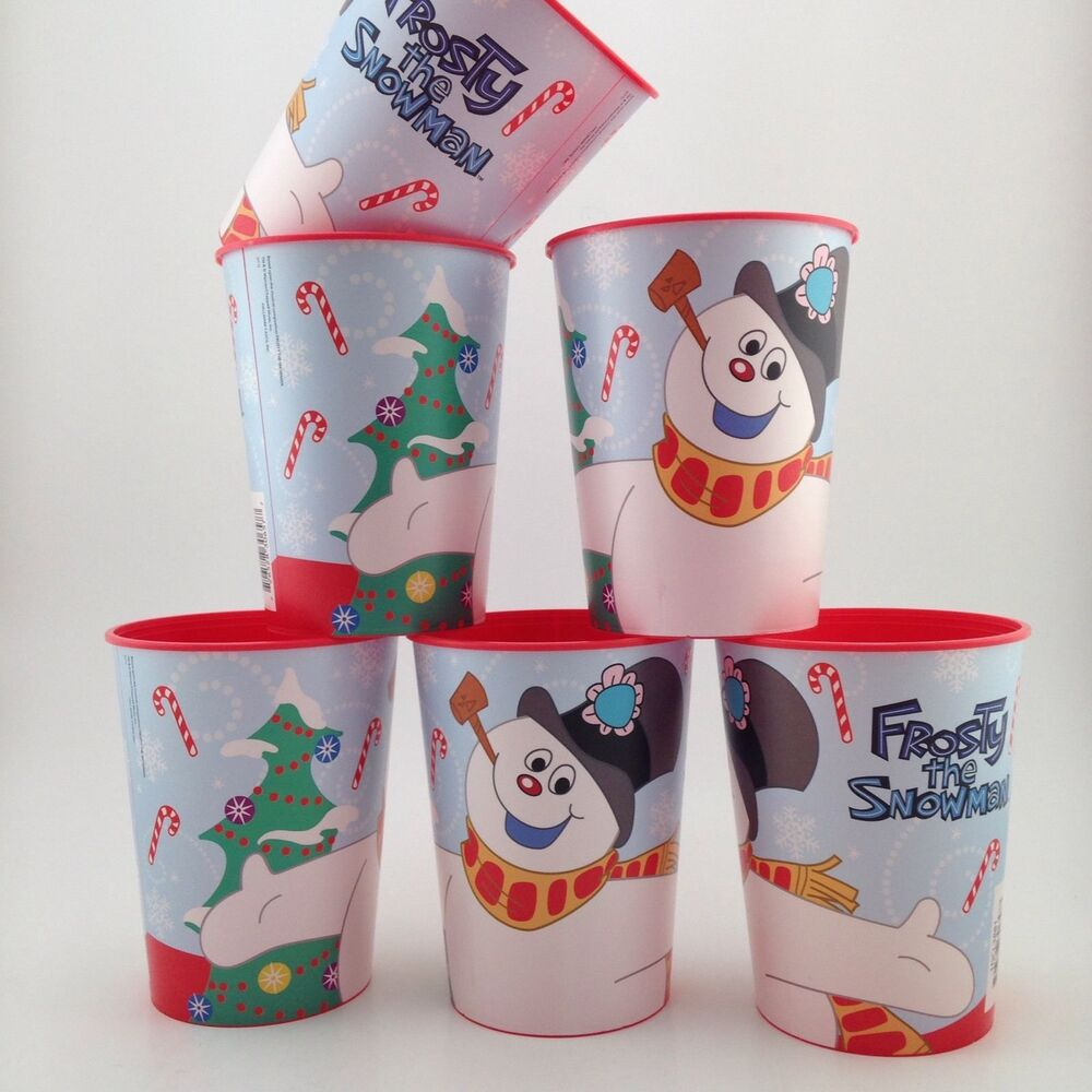6 Frosty The Snowman Plastic Christmas Cups Glasses