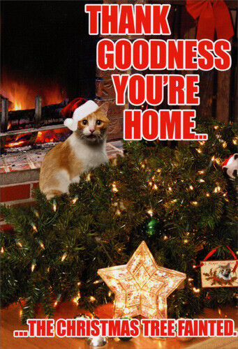 Tree Fainted Cat Funny Christmas Card Greeting Card By