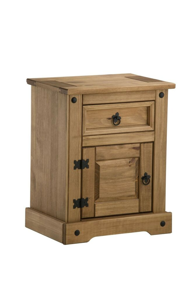 Corona Bedside Cabinet Mexican Pine Solid Wood Furniture